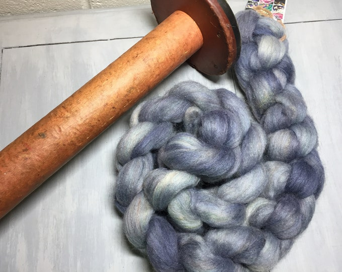 Blueberry Hand Dyed Merino/Rainbow Nylon Spinning Fiber - 4 oz
