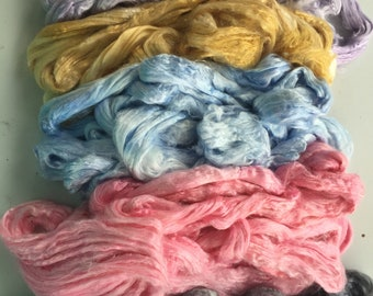 Dyed Bamboo by the ounce - spinning and blending fiber