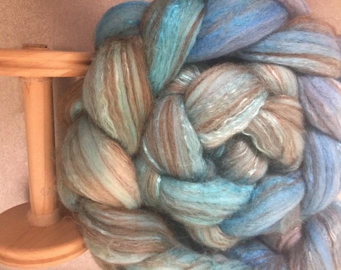 Lusty Lagoon 4 oz Dyed Merino, Camel, Alpaca, Mulberry Silk Combed Top