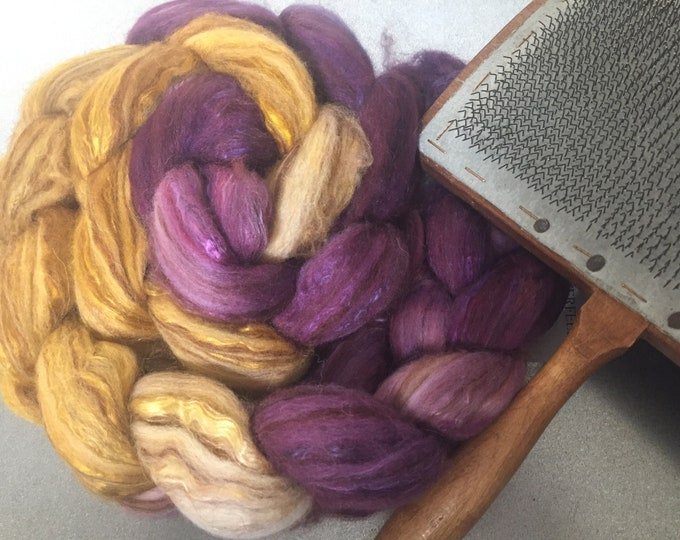 Scandalous 4 oz Dyed Merino, Camel, Alpaca, Mulberry Silk Combed Top