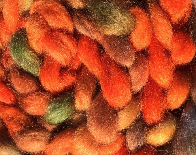 Pumpkin Pie Hand Dyed Mohair/Wool Carded Sliver - 4 oz
