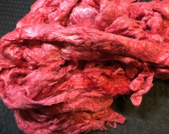 Apple Red 1 oz Dyed Silk Noil
