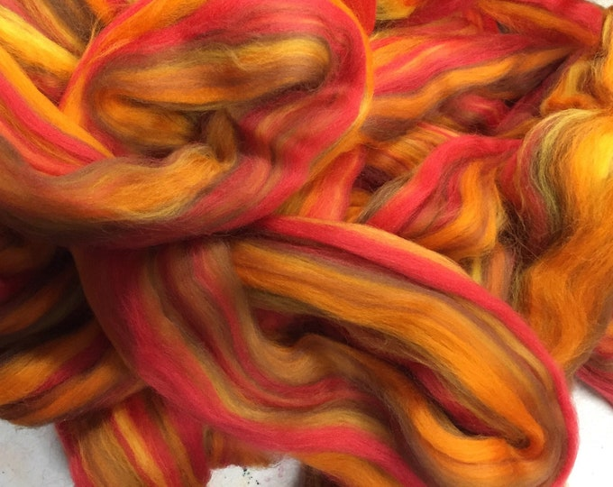 Bonfire - Multi colored Merino combed top - 4 oz