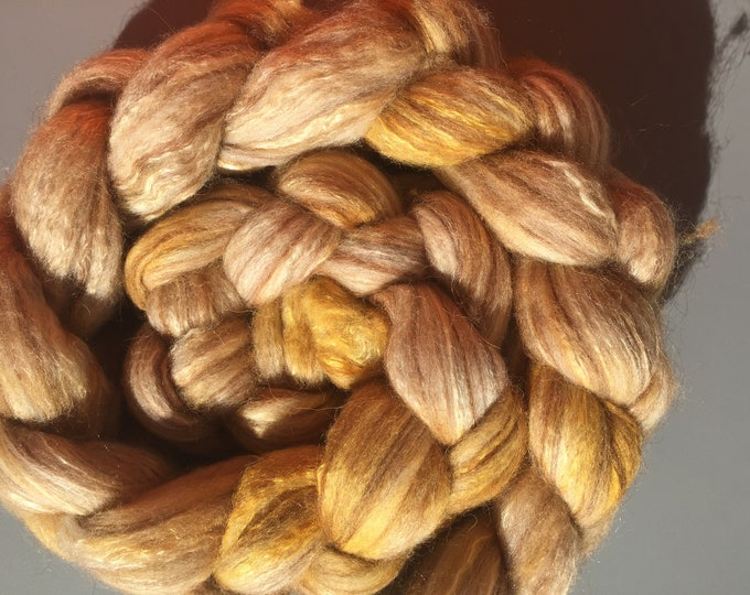 Birch Leaf - 4 oz Merino/Camel/Alpaca/Mulberry Silk Combed Top