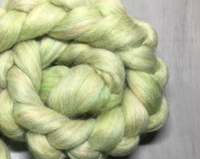 Salsa Verde - Hand Dyed Merino/Rainbow Nylon Spinning Fiber