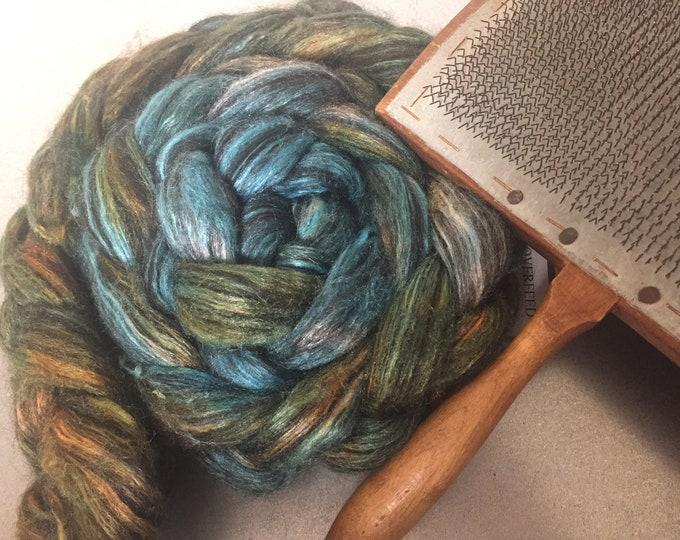Tropical Nights 4 oz Alpaca/Tussah Silk Dyed Combed top