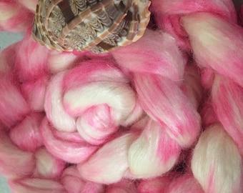 Anemone 4 oz Alpaca/Tussah Silk Dyed Combed Top