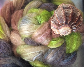 Weak in the Knees 4 oz Baby Camel/Tussah Silk Dyed Combed Top