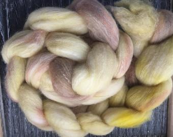 Caramel Corn 4 oz Polwarth/Bamboo/Tussah Silk Combed Top