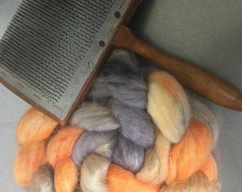 Sunset 4 oz Dyed Alpaca/Tussah Silk Combed Top