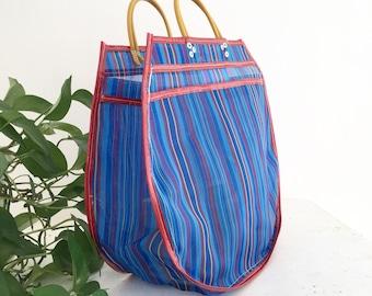 XL tote bag - striped red/blue
