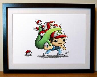 Pokemon Poster | Geek  Poster | Pokemon Art Print | Ash Ketchum | Pokemon Gift | Funny Pokemon | Pokemon Fan Art | Gotta Catch 'Em All |