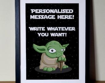 Personalised Star Wars Print, Personalised Yoda Print, Personalised Star Wars, Personalised Star Wars Gift, Personalised Yoda, Starwars
