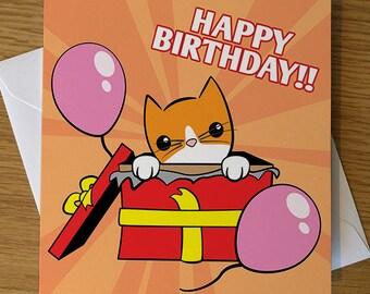 Cat Birthday Card, Birthday Kitten, Cat Greeting Card, Cute Cat Card, Birthday Cat, Cartoon Greeting Card, Cat Lover, Cat Gift,