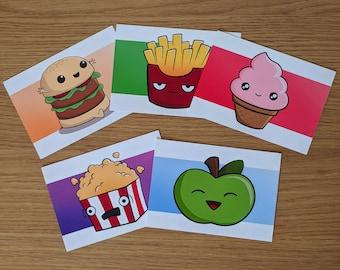 Cute food print pack, Cute gift, Cute Art Prints, Food art prints, Cute artwork, cute illustrations, kawaii food, kawaii prints