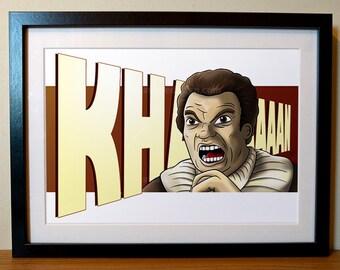 Star Trek Print, Khan Star Trek, Trekkie, William Shatner, Captain Kirk, Star Trek Gift, Sci-Fi, Wrath of Khan, Star Trek Fan, Star Trek,