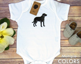 Baby Bodysuit Labrador, Labrador Bodysuit, Baby Boy, Baby Girl, Shower Gift, Birthday Gift, Dog, Lab, Black Lab, Puppy, Linoleum Block Print