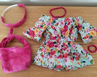 18 inch doll clothes boho romper bell sleeve shorts floral with purse and headband outfit