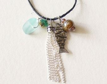 Contemporary Charm Necklace, Unique, Beach,
