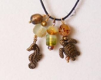 Contemporary Charm Necklace, Unique, Brass, Autumn Colors