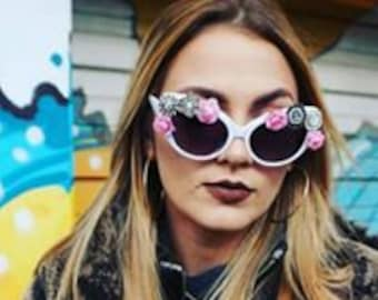 Pretty in Pink and White Cat Eye Sunglasses