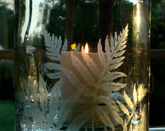 Hand-Etched Recycled Glass Candle Holder  -   SALE  -  marked down from 115 to 80 dollars
