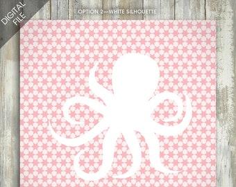 Octopus Silhouette Art DIGITAL FILE 2 Silhouette Options Animal Prints Letter Art Children's Wall Art Nursery Art Animal Art