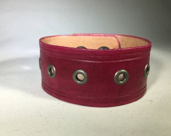 Large Oxblood / Pink Wriststrap with Eyelets