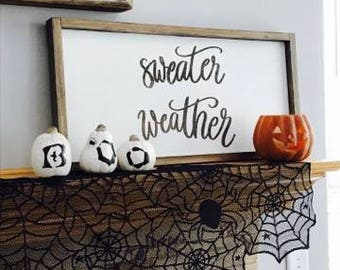 Sweater Weather Wood Sign, Rustic Signs, Home Decor, Farmhouse Decor, Wall Decor, Farmhouse Sign, Rustic Decor, Farmhouse Wall Decor