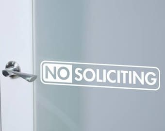 No Soliciting sign | No soliciting vinyl decal | door decal | Front door decal | No solicit | No soliciting sticker