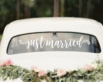 Just married decal | rustic wedding | bridal shower gift | engagement gift | wedding decor | custom wedding sign | barn wedding