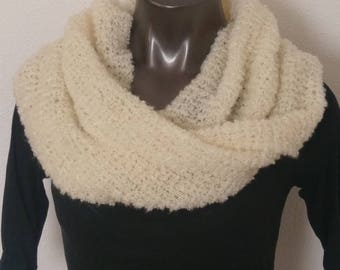 Classy Cream Long Soft Hand Knit Boucle Infinity Scarf or Cowl Ready to Ship