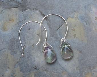 Fluorite Drop Earrings, Fluorite Earrings, Gemstone Earrings, Silver Ear Wire Jewellery, Purple Earrings, Green Earrings