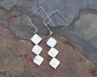 White Shell Earrings, Shell Pearl Earrings, White Earrings, Square Earrings, Ivory Earrings, Gem Earrings, Silver Earrings