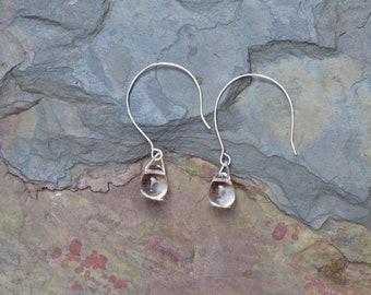 Clear Quartz Earrings, Quartz Earrings, Silver Earrings, Quartz Drop Earrings