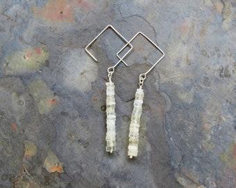 Moonstone Dangle Earrings, Moonstone Ear Wires, Rondelle Earrings, Diamond Earwires, Dangle Earrings, White Earrings, White Moonstone
