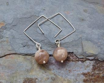 Square Sunstone Earrings, Sunstone Earrings, Gemstone Earrings, Neutral Earrings, Simple Ear Wires, Square Ear Wires
