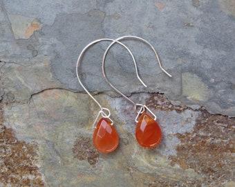 Carnelian earrings, Red earrings, Orange Earrings, Silver Earwires, Silver Carnelian Earrings