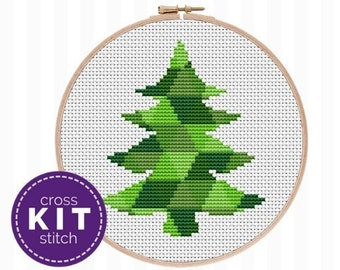 Christmas Tree Cross Stitch Kit - a beginner friendly, modern needlework kit with all the supplies needed to stitch! Great gift for crafters