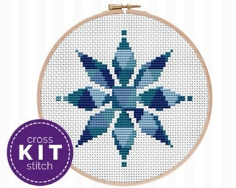 Modern Snowflake Needlepoint Kit, an easy cross stitch kit that's perfect for any skill level! Makes a great gift for crafty girls!