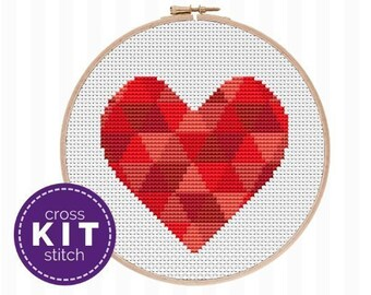 Valentine's Heart Embroidery Kit, a beginner cross stitch kit that's great for any skill level! Learn and stitch your own Valentine's decor!