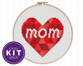 Mother's Day Cross Stitch Kit - everything you need to make this modern embroidery project! Beginner friendly + a great Mother's Day gift!