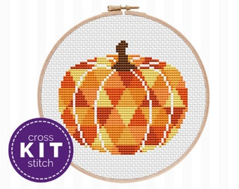Pumpkin Cross Stitch Kit - this Halloween embroidery kit features a modern pumpkin design and is ideal for beginners learning cross stitch!