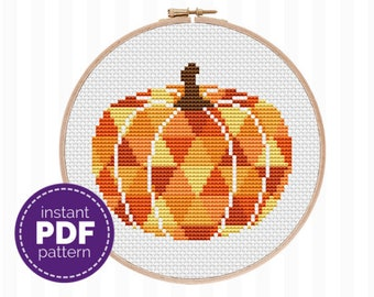 Halloween Embroidery Pattern - use this pumpkin cross stitch pattern to create DIY Halloween decor for your walls, and great Halloween gifts
