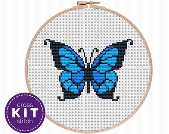 Blue Butterfly Cross Stitch Kit Insect Needlepoint Kit Blue Bug Embroidery Kit Nature Cross Stitch Gift for Mom Gift for Her Gift for Friend
