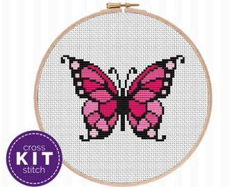 Butterfly Cross Stitch Kit Pink Butterfly Needlepoint Kit Embroidery Butterfly DIY Decor Gift for Mom Gift for Her Gift for Friend