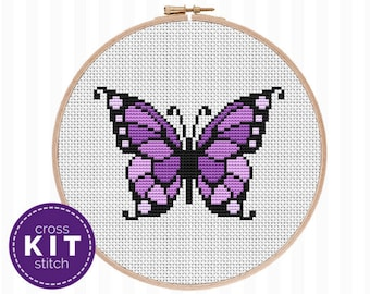 Butterfly Cross Stitch Kit Purple Butterfly Needlepoint Kit Embroidery Butterfly DIY Decor Gift for Mom Gift for Her Gift for Friend