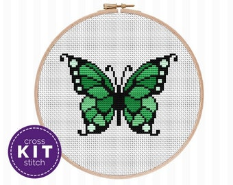 Green Butterfly Cross Stitch Kit Insect Needlepoint Kit Bugs Embroidery Butterfly DIY Decor Gift for Him Gift for Her Gift for Friend