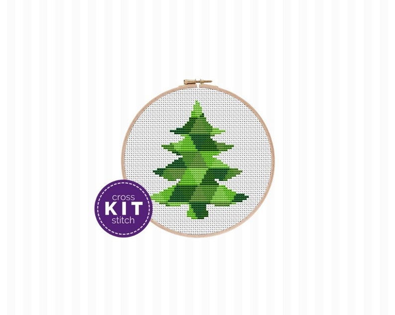Christmas Tree Cross Stitch Kit  a beginner friendly modern image 0