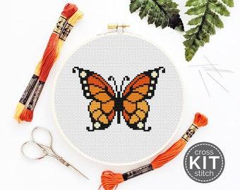 Monarch Butterfly Cross Stitch Kit Orange Butterfly Needlepoint Kit Embroidery Butterfly Gift DIY Cross Stitch DIY Gift Handmade Present
